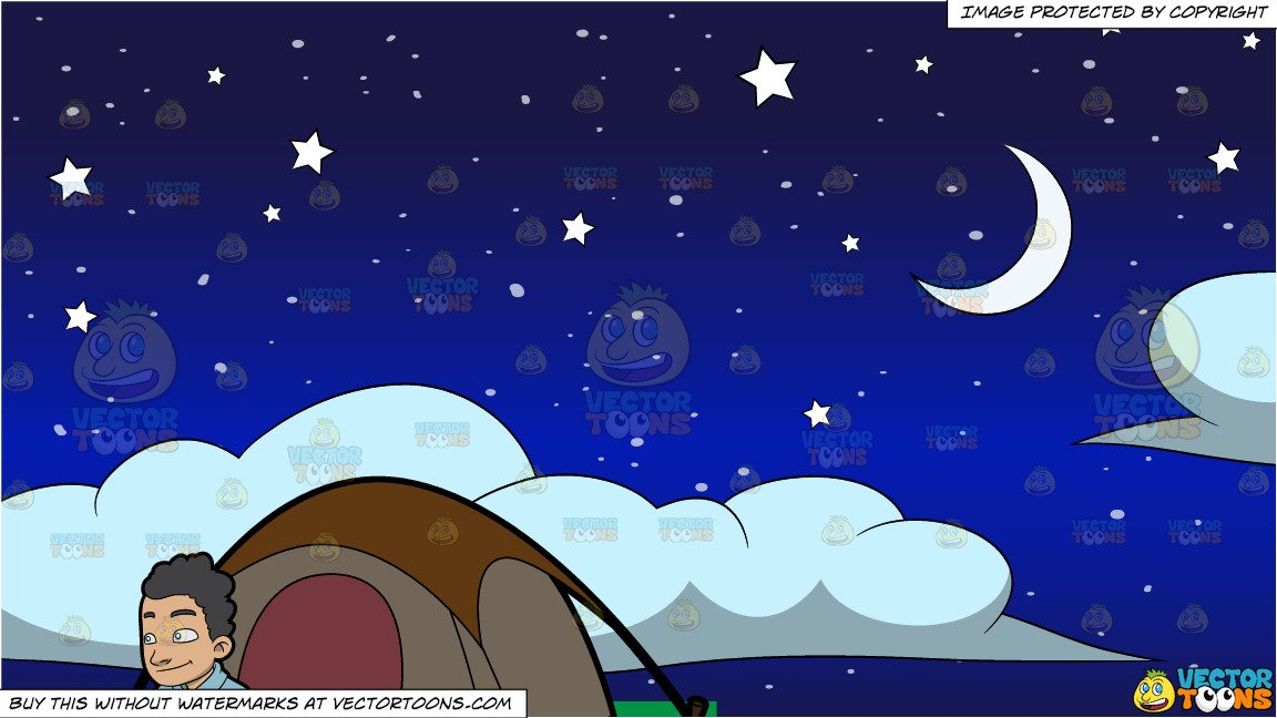 Tent and stars clipart picture royalty free stock A Camper Outside His Tent and Stars Moon And Clouds Background picture royalty free stock