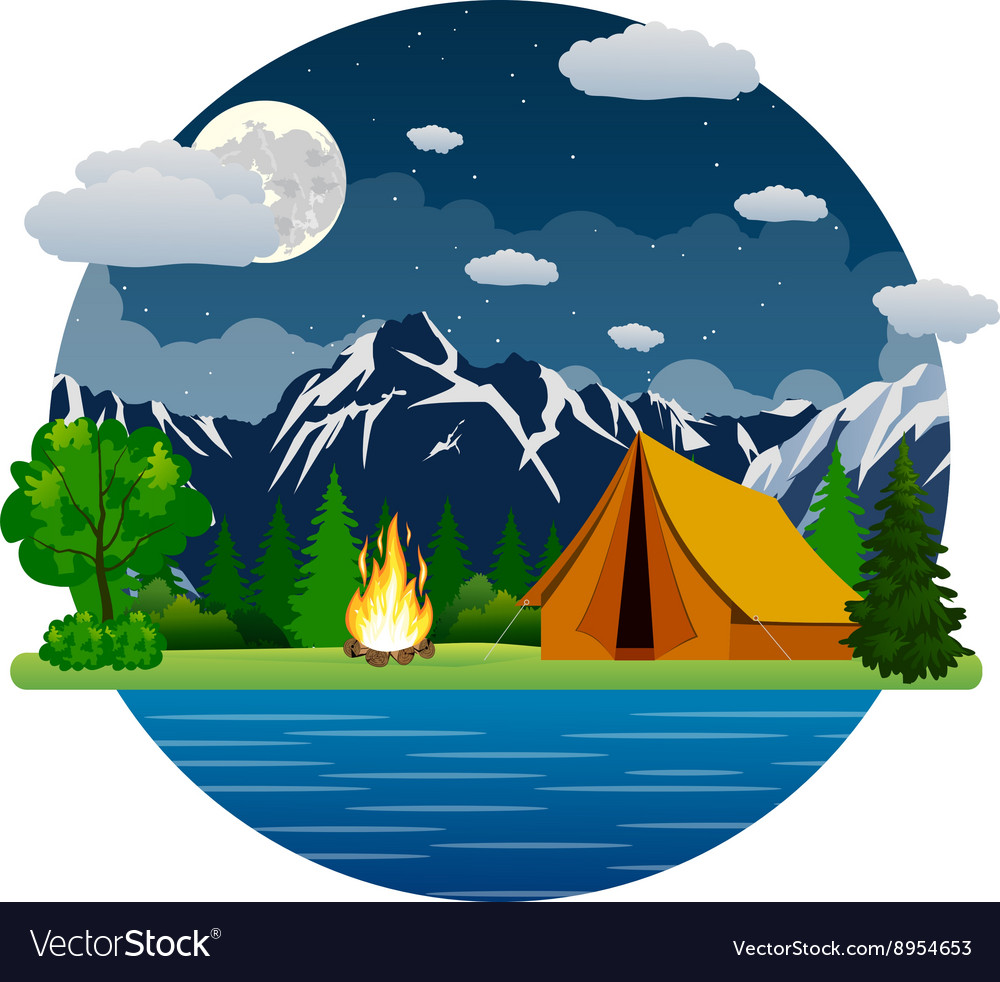 Tent by lake clipart free clip art Summer landscape tent and bonfire clip art