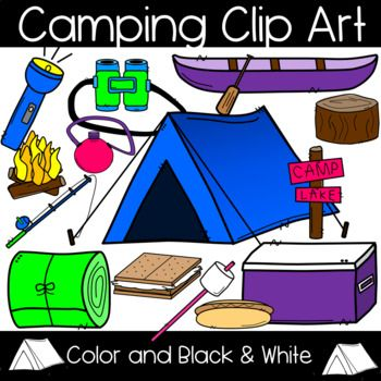 Tent by lake clipart free clipart black and white Camping Clip Art: Tent, Canoe, Campfire, S\'more, Cooler and ... clipart black and white