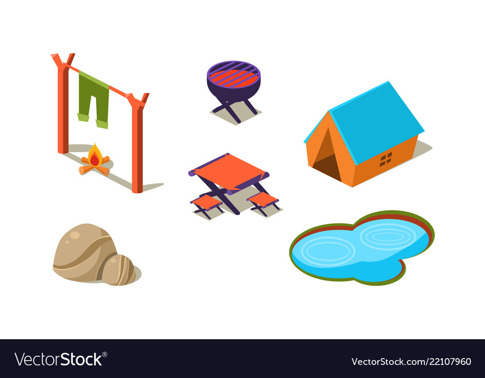 Tent by lake clipart free clipart stock Set of isometric icons for camping tent clipart stock