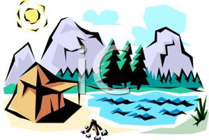 Tent by lake clipart free clip art freeuse Tent Set Up By a Mountain Lake - Royalty Free Clipart Picture clip art freeuse