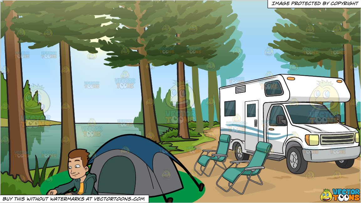 Tent trailer camping on lake clipart clipart transparent library A Camper Cooking His Meal Outside The Tent and An Rv Parked By The River  Background clipart transparent library