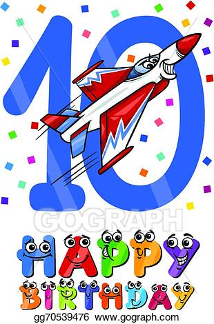 Tenth clipart image black and white download EPS Illustration - Tenth birthday cartoon design. Vector ... image black and white download