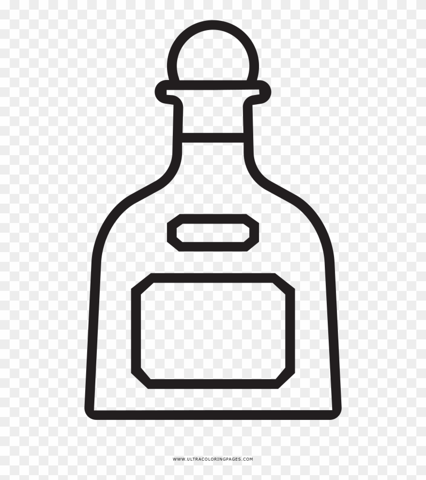 Tequila clipart images banner black and white library Tequila Bottle Coloring Page - Tequila Clipart - Png ... banner black and white library