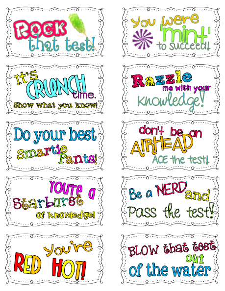 Test motivation clipart vector black and white library Candy Motivational Test Notes | Classroom Freebies ... vector black and white library