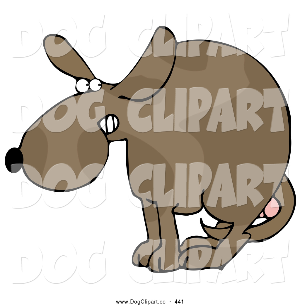 Testicles clipart banner black and white Clip Art of a Scared Dog at the Vets Office, Cowering with ... banner black and white