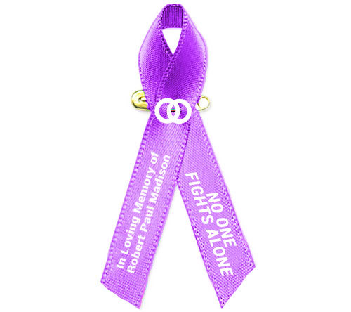 Testicular cancer awareness ribbon clipart image Personalized Testicular Cancer Awareness Ribbon (Orchid Purple) - Pack of 10 image
