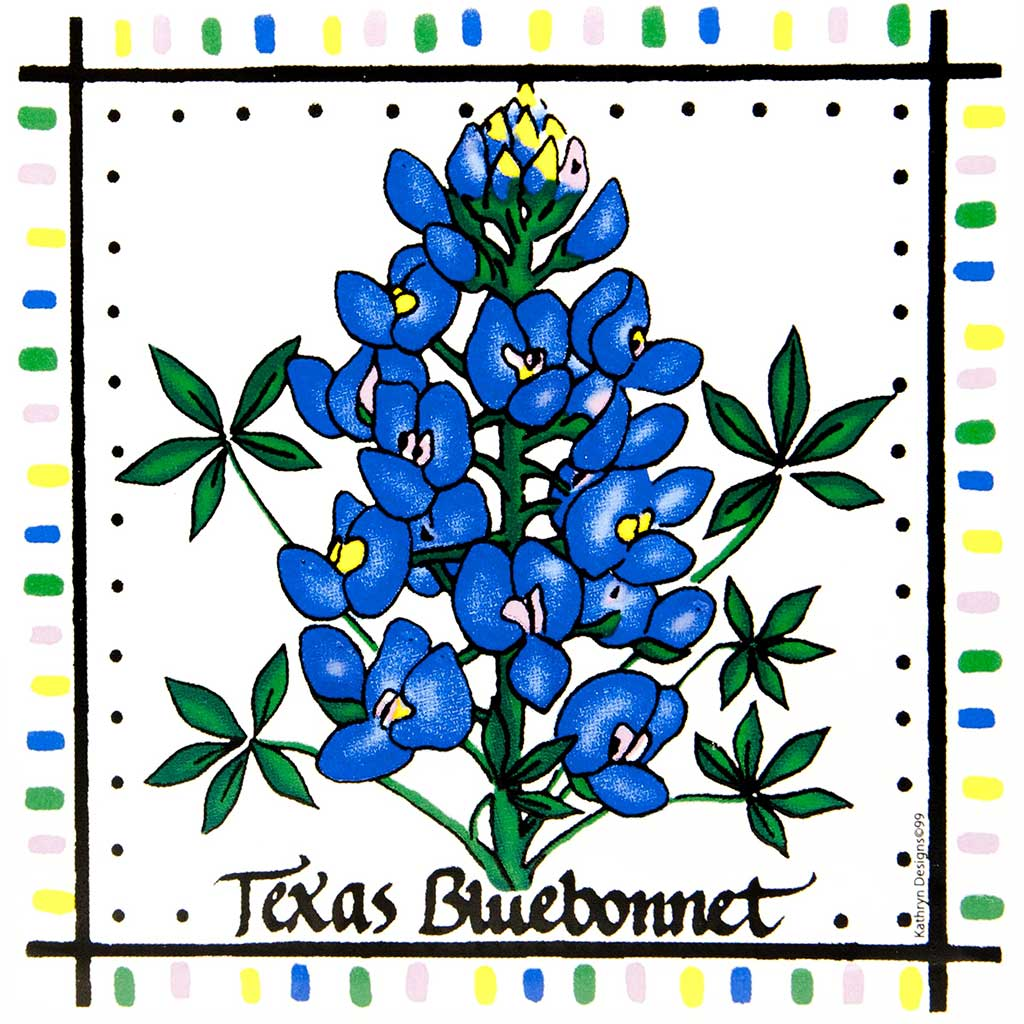 Texas bluebonnets clipart royalty free library Texas Bluebonnets Porcelain Tile Trivet royalty free library