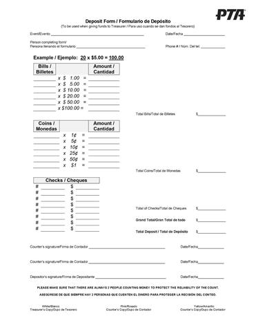 Texas pta clipart spanish vector free Deposit Forms (50 Pack) vector free