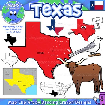 Texas symbol clipart clip art freeuse library Texas State Symbols and Map Clipart clip art freeuse library