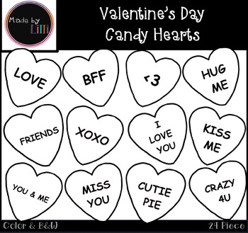 Text me candy heart clipart black and white graphic royalty free Valentine\'s Day Candy Hearts Clipart graphic royalty free
