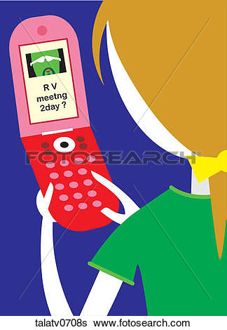 Text message clip art png black and white stock Stock Illustration of Woman Sending a Text Message talatv0708s ... png black and white stock