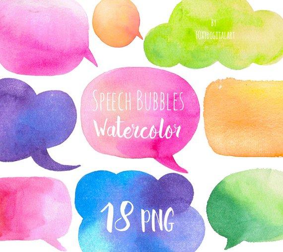 Text speak clipart transparent Watercolor Clip Art, Speech Bubbles, Speak Bubble, Speech ... transparent