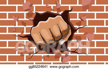 Th pictures of the hand punched the wall in clipart