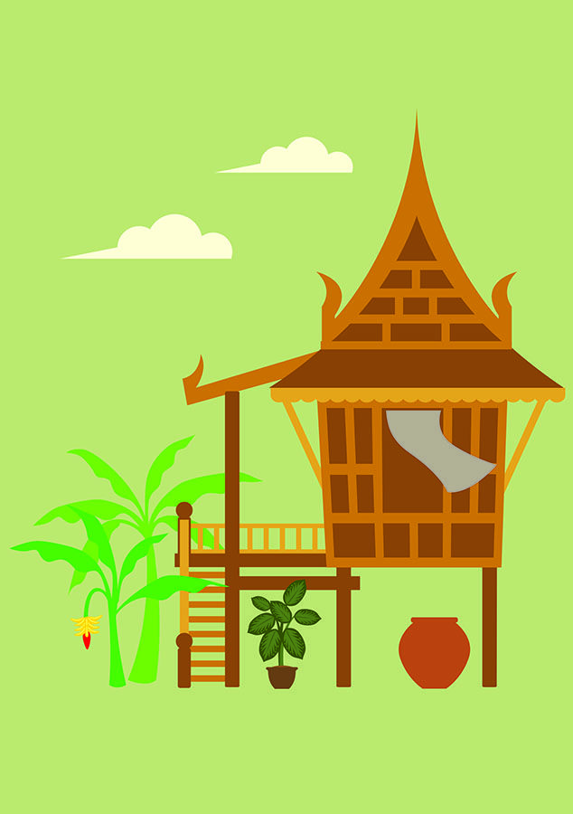 Thai house clipart black and white stock Traditional House Style in Central of Thailand | Thai Vector ... black and white stock