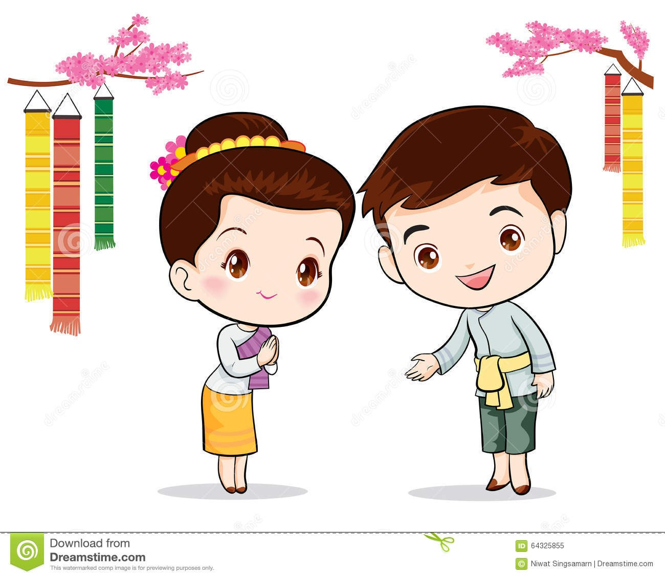 Within Clipart Cartoon Thai Welcome Thailand Style Mascot ... vector free stock