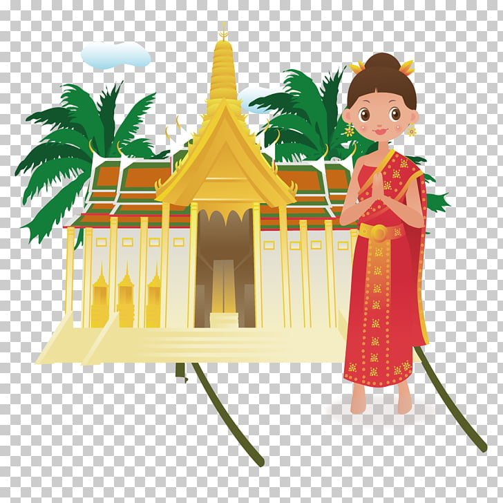 Thailand Cartoon Illustration, Thai style girl dress, red ... png free