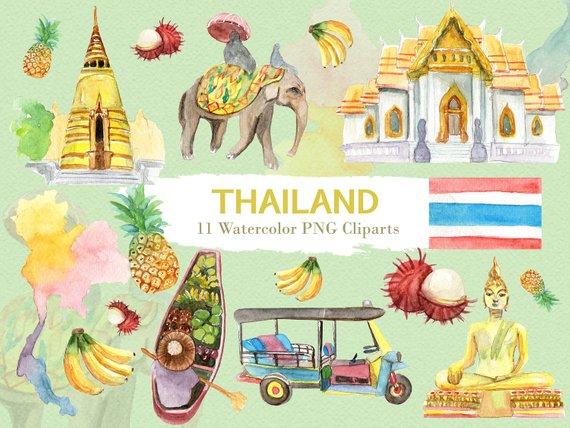 Thailand travel clipart jpg download Thailand Clipart Watercolor Digital Download Travel ... jpg download