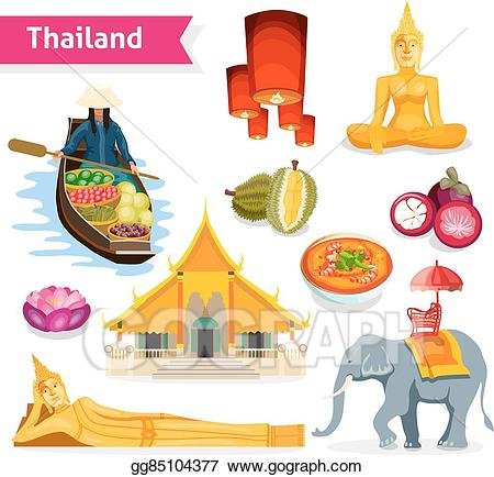 Thailand travel clipart library Vector Art - Thailand travel set. Clipart Drawing gg85104377 ... library