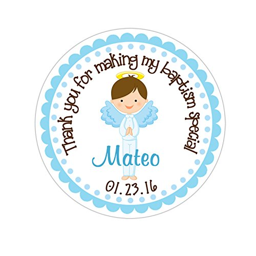 Thank you angel clipart png library Personalized Customized Baptism Party Favor Thank You Stickers - Brown Hair  Angel Boy - Round Labels - Choose Your Size png library