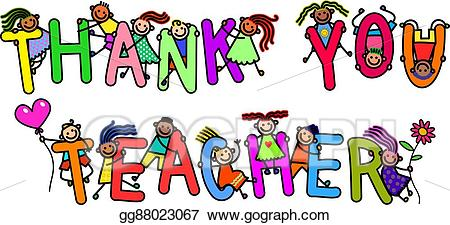 Thank you clipart kids picture transparent library Drawing - Thank you teacher kids. Clipart Drawing gg88023067 ... picture transparent library