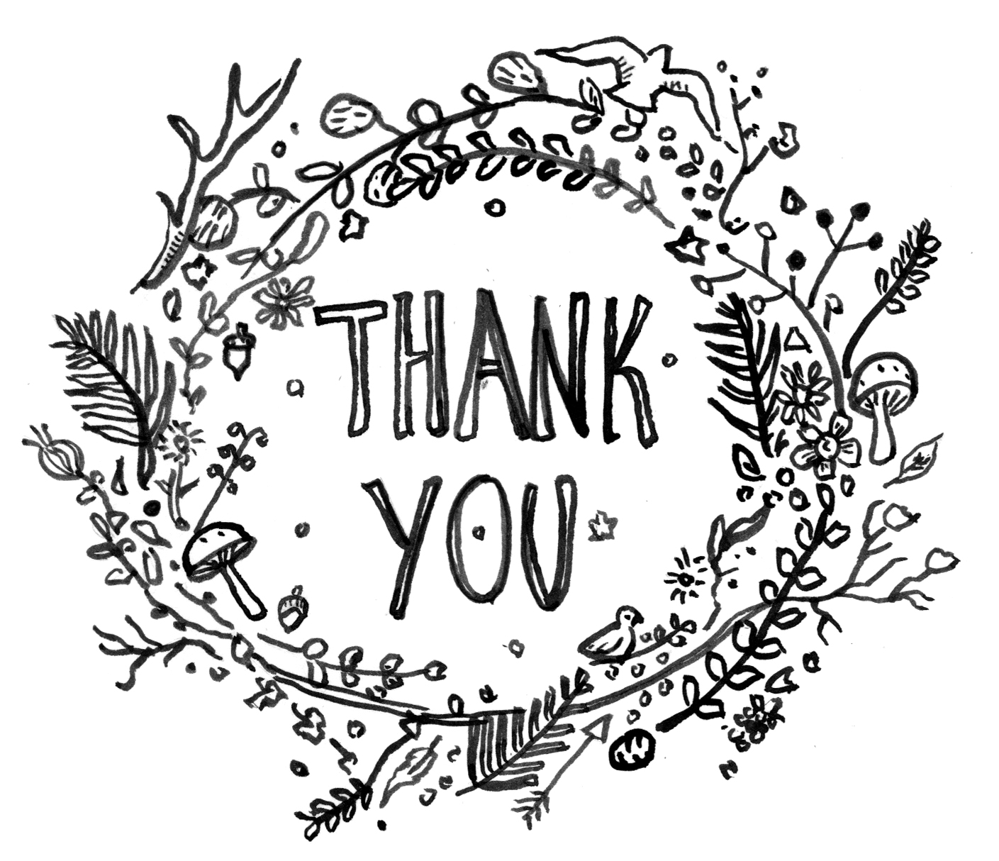 Thank you flowers clipart black and white clipart freeuse library Thank You Drawing at PaintingValley.com | Explore collection ... clipart freeuse library