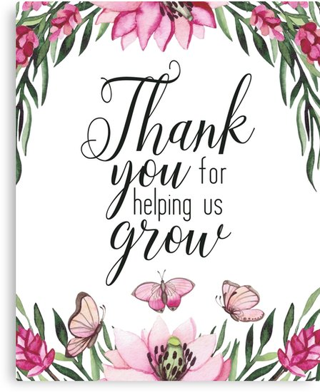 Thank you for helping us grow clipart graphic library download \'Teacher Quote - Thank You for Helping Us Grow\' Canvas Print by DownThePath graphic library download