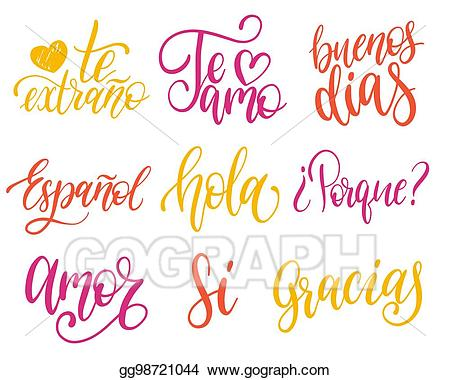 Thank you for translating clipart svg black and white download Vector Art - Vector calligraphic set of spanish translation ... svg black and white download