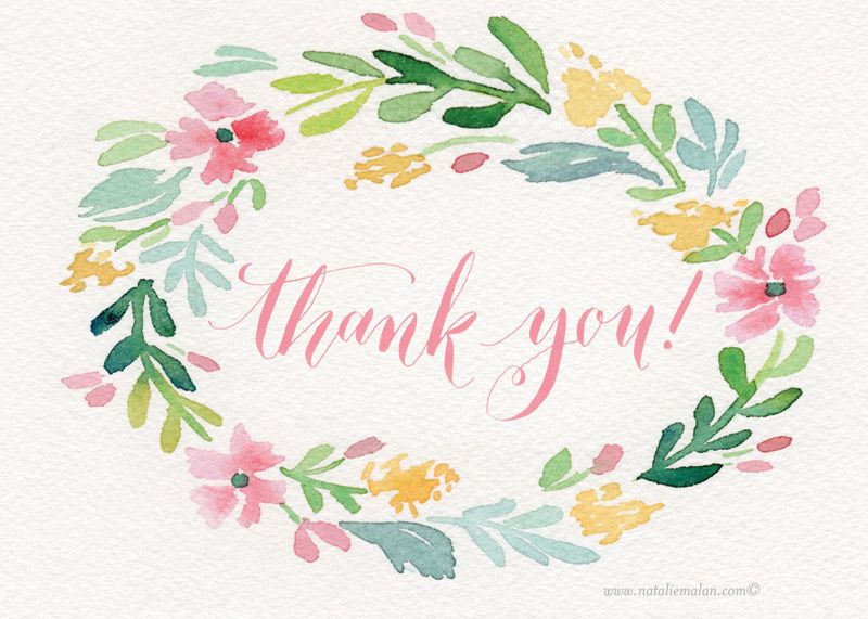 Thank you greenery free clipart picture Free thank you cards to print printable. | Cards and tags ... picture