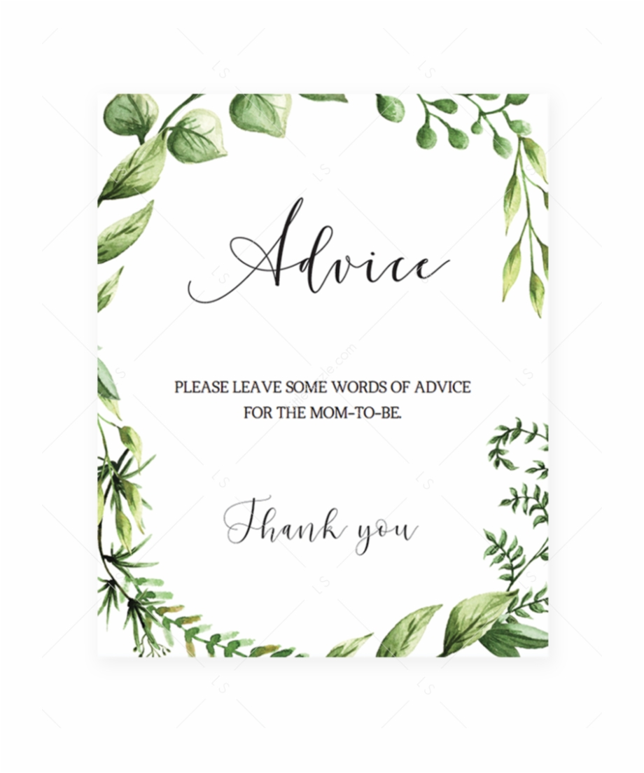 Thank you greenery free clipart clipart black and white Baby Shower Advice Sign Printable With Watercolor Greenery ... clipart black and white