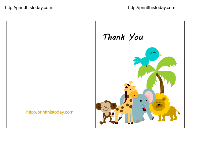 Thank you halloween clipart svg transparent library Free Jungle Baby Shower Thank You Cards (Printable) svg transparent library