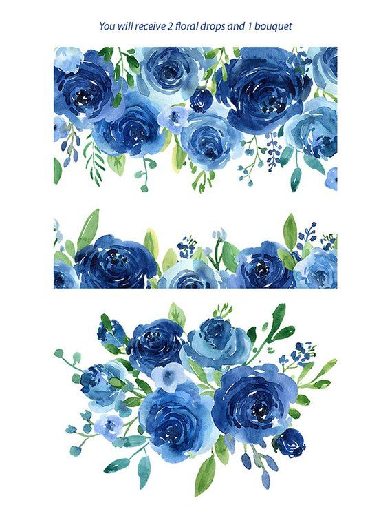 Thank you vector clipart watercolor flowers blue clip art freeuse stock Watercolor Flowers Clipart Blue Roses Leaves Branches Free ... clip art freeuse stock