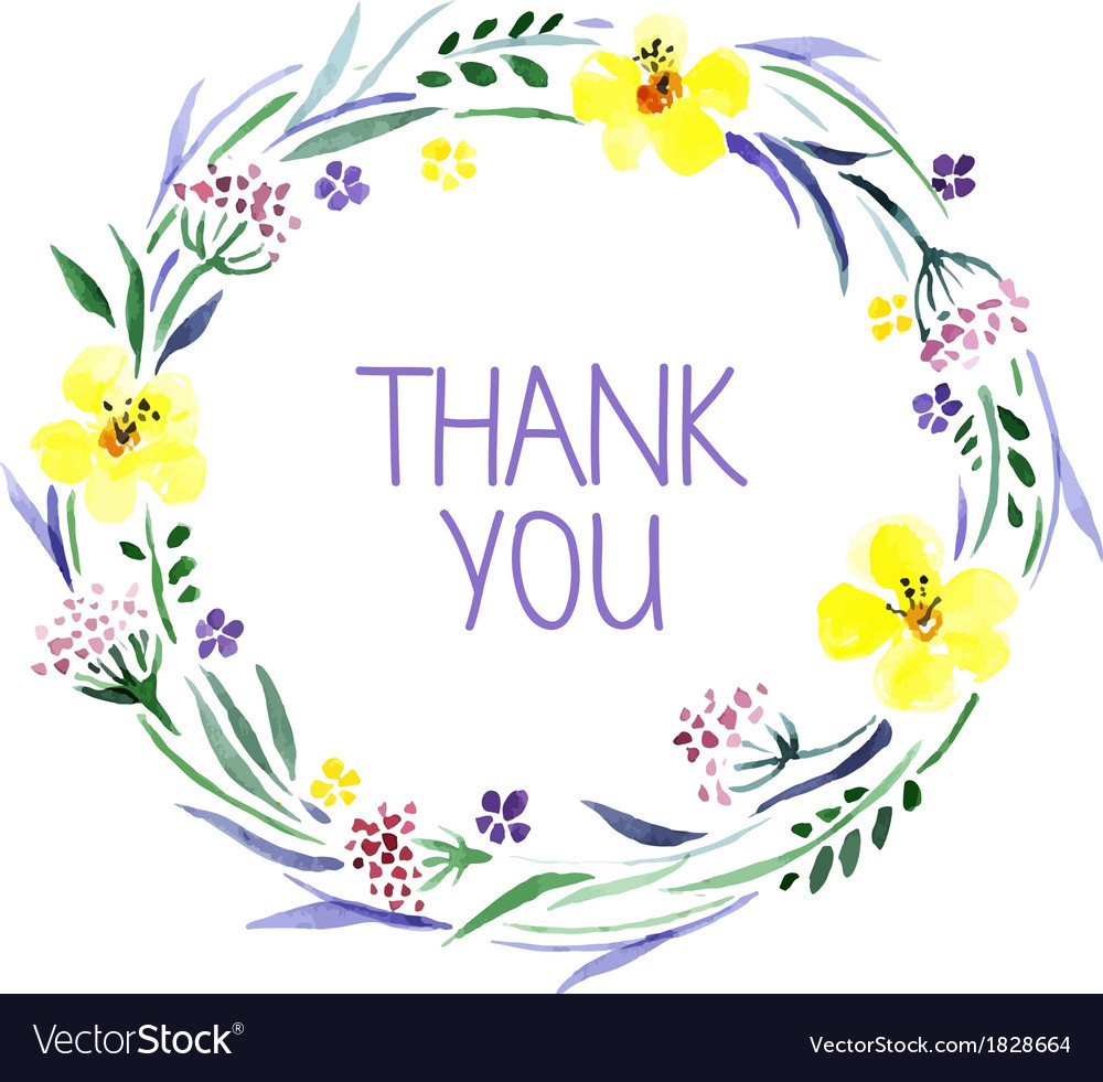 Thank you vector clipart watercolor flowers blue graphic freeuse Thank you card with watercolor floral bouquet graphic freeuse