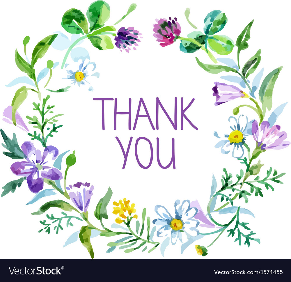 Thank you vector clipart watercolor flowers blue svg transparent stock Watercolor thank you card svg transparent stock