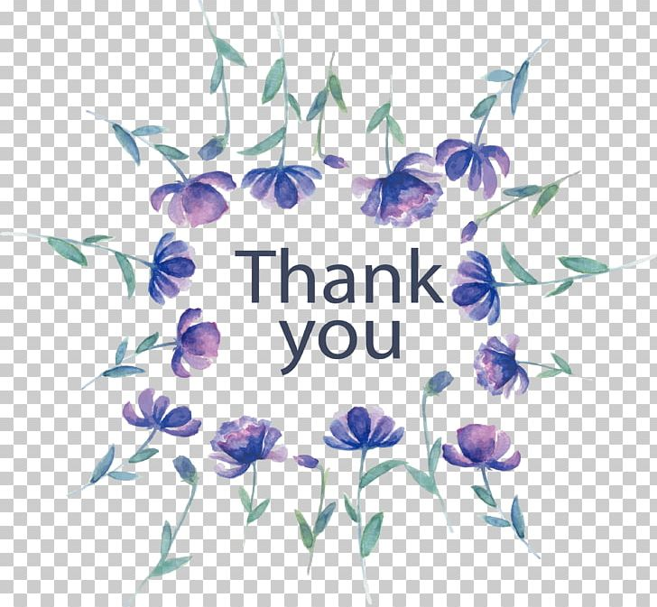 Thank you vector clipart watercolor flowers blue library Watercolor Painting Graphic Design Purple Photography PNG ... library