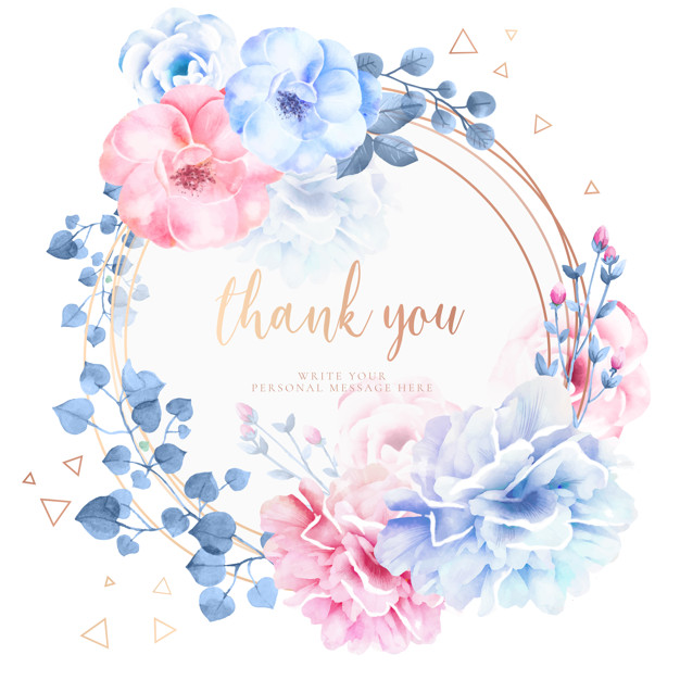 Thank you vector clipart watercolor flowers blue svg library download Beautiful thank you card with watercolor flowers Vector ... svg library download