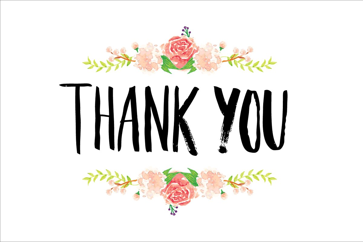 Thank you with flowers clipart clipart black and white library thank you typography/flowers vector clipart black and white library