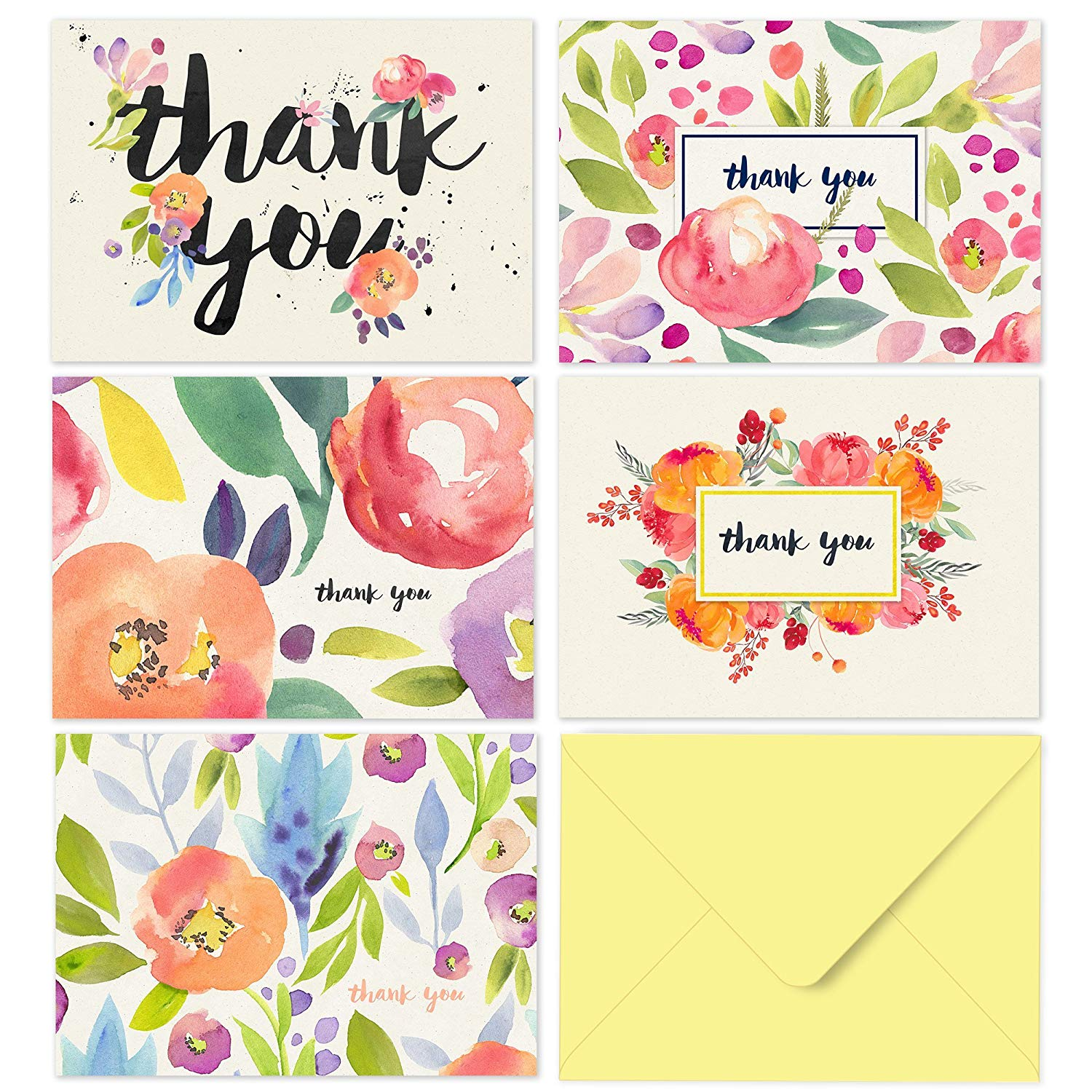 Thank you with tulip clipart banner freeuse download 40 Thank You Cards with Envelopes - Floral Watercolor with Yellow Envelopes  - Weddings Bridal Showers Baby Showers banner freeuse download