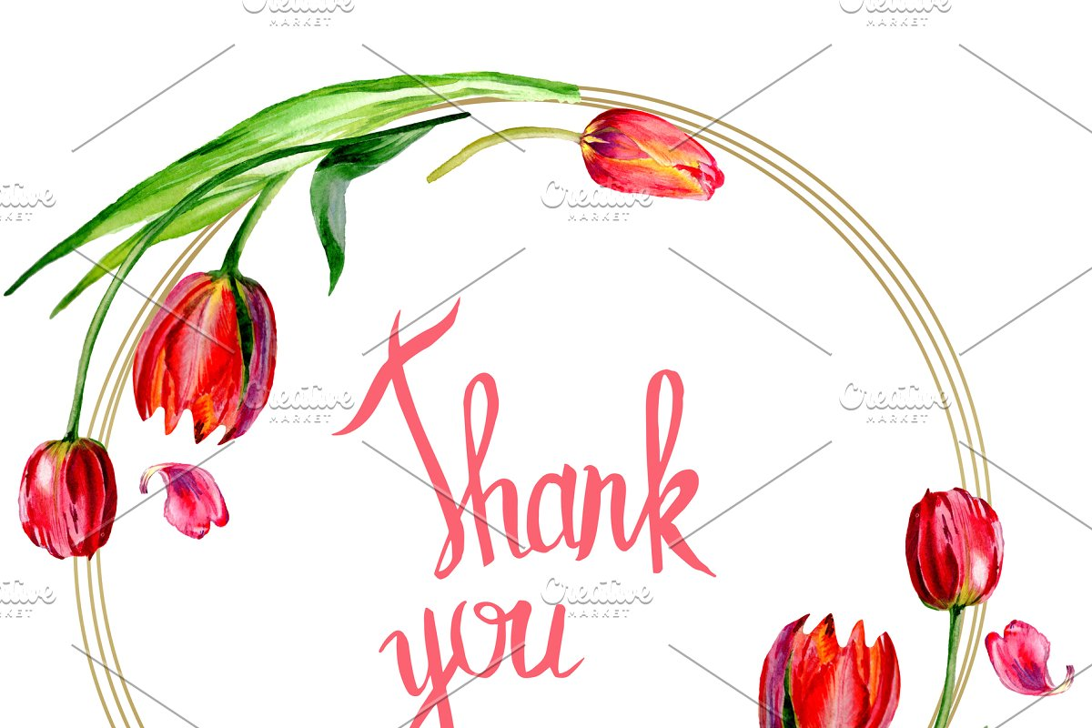 Thank you with tulip clipart banner black and white library Amazing red tulip flower. Thank you banner black and white library