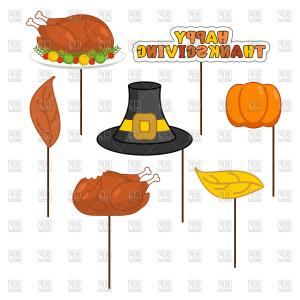 Thankgiving vector clipart clip art black and white stock Set Of Props Roasted Turkey Pumpkin Leaves Happy ... clip art black and white stock