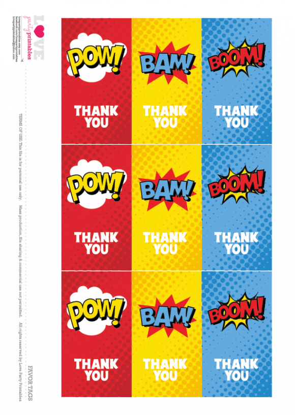 Thanks superhero clipart png royalty free download Superhero Party Free Printable Thanks You Cards ... png royalty free download