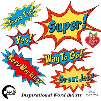 Thanks superhero clipart image black and white stock Superhero Callouts Clipart, Word Bursts, Inspirational Words, AMB-2018 image black and white stock