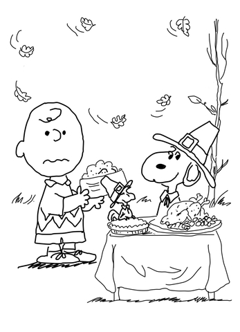 Thanksgiving charlie brown black and white clipart black and white stock Charlie Brown Thanksgiving coloring page | Free Printable ... black and white stock