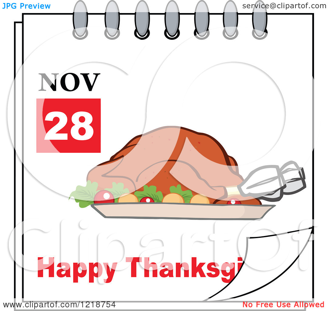 Thanksgiving clipart calendar jpeg picture free stock Clipart of a Calendar Page with a Roasted Turkey and Happy ... picture free stock