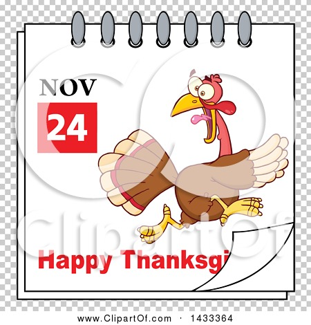 Thanksgiving clipart calendar jpeg image transparent library Clipart of a November 24 Happy Thanksgiving Calendar Page with a ... image transparent library