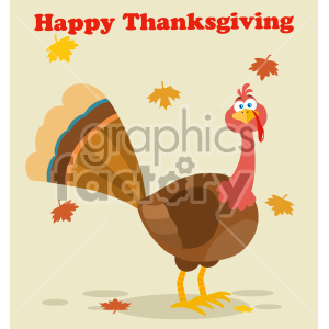 Thanksgiving clipart leaves image freeuse download Thanksgiving Turkey Bird Cartoon Mascot Character Vector Illustration Flat  Design With Background Autumn Leaves And Text Happy Thanksgiving clipart.  ... image freeuse download
