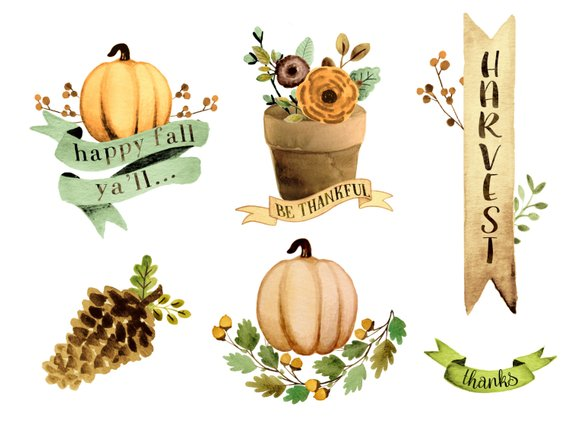 Thanksgiving clipart with quote clip transparent stock Watercolor fall clipart, hand painted fall clipart, fall ... clip transparent stock