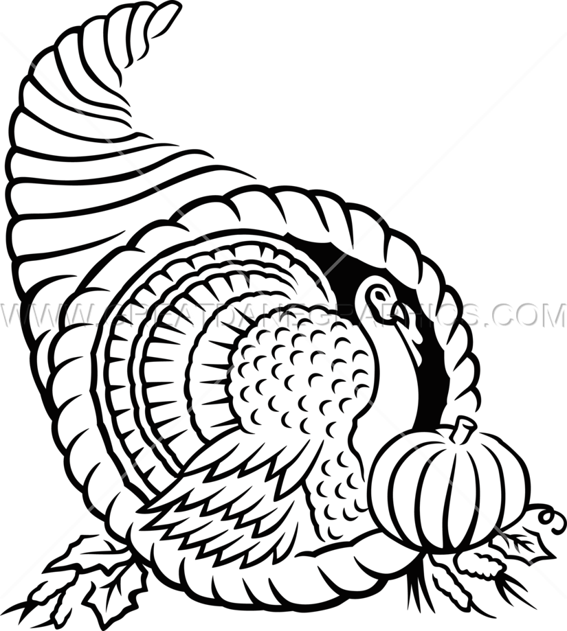 Thanksgiving cornucopia clipart black and white clipart transparent library Cornucopia | Production Ready Artwork for T-Shirt Printing clipart transparent library