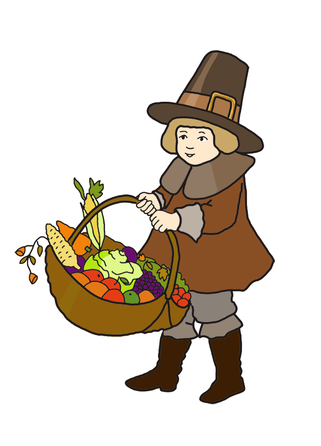 Thanksgiving family gathering clipart png transparent Pilgrim boy with Thanksgiving harvest | Thanksgiving Stuff ... png transparent