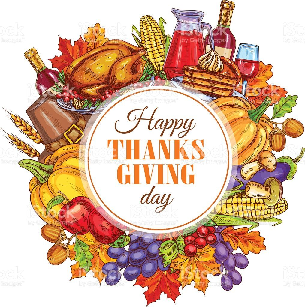 Thanksgiving holiday 2018 clipart png royalty free library Thanksgiving Day decoration design. Vector round sticker for ... png royalty free library